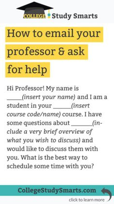 how to email your professor for help
