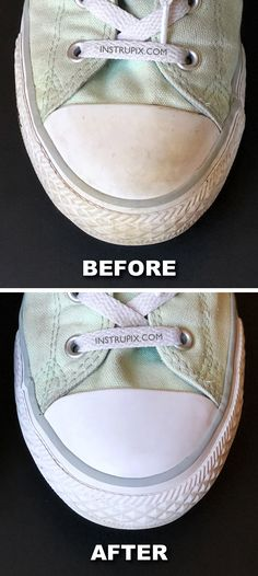 How to make the rubber soles on your converse or other shoes super white and clean with one ingredient! This little trick takes less than 5 minutes and is super easy! Instrupix.com