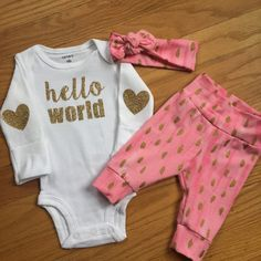 Baby girl going home set - pink and gold theme - hello world, baby shower gift, coming home outfit new baby going home outfit