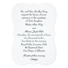 Simple Black & White Wedding Invitation