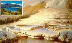 Pink and white terraces of Lake Rotomahana on North Island, New Zeland which had been a major Victorian tourist attraction, were believed to have been lost in an 1886 volcanic eruption What Is Pink, Cascade Water, New Zealand North, South Island, Terrazzo, Natural Wonders, Amazing Nature, Old Photos, Wonders Of The World