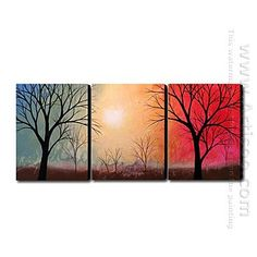 1000 images about hand painted canvas painting sets on for Set of three canvas paintings