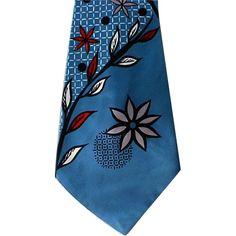 1950s Men's Wide Vintage Necktie Blue Rayon Mid Century California Hollyvogue