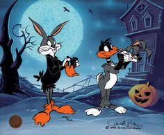 Trick or Treat, Original animation art limited edition cel of Bugs Bunny from Chuck Jones. This page links to our main page which has over 5000 pieces of animation art from Disney, Simpsons, Warner, etc. Looney Toons, Looney Tunes Cartoons, Cool Cartoons, Classic Cartoon Characters, Classic Cartoons, Cartoon Art, Cartoon Design, Personnages Looney Tunes, Days Till Halloween