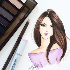 Cosmetics and illustrations. Yay!! Urban Decay palette and Holly Nichols illustration.