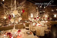A stunning candle-lit reception in Biltmore Estate's Champagne Cellar, a Flower Gallery of Asheville Wedding