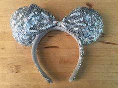 Disney MICKEY MOUSE MINNIE EARS Silver Sequin, Bow Headband