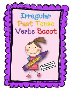 Irregular Past Tense Verbs Task Cards or Scoot Spelling Activities, Printable Activities For Kids, Language Activities, Educational Activities, Nouns And Verbs, Plural Nouns, Teaching Verbs, Student Teaching