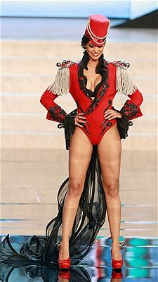 Alina Buchschacher shows off the national costume for Switzerland at the 2012 Miss Universe pageant.