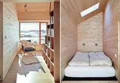 Cabin with alpine charm in Norway - Nordic Design Narrow Rooms, Small Rooms, Small Space Living, Living Spaces, Cabin Design, House Design, Plywood House, Tiny House Movement, Tiny Spaces
