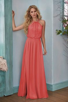 112b14a17c00 B203006 Long Halter Neckline Lace   Poly Chiffon Bridesmaid Dress