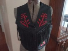 Women s Black Leather USA Bikers Leather  Motorcycle Vest red Roses Fringe Sz L #USABIKERSLEATHER
