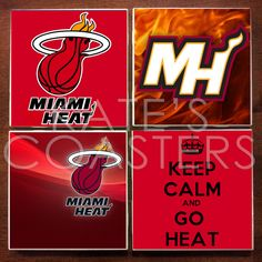 Set of 4 Miami Heat basketball ceramic tile coasters, by KatesCoasters, $10.00
