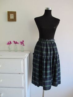 VINTAGE water taffeta SKIRT checker CHECKED pattern PRINT Navy Blue Green retro