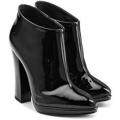 Giuseppe Zanotti Patent Leather Ankle Boots ($290) ❤ liked on Polyvore featuring shoes, boots, ankle booties, heels, ankle boots, booties, black boots, pointed toe booties, black heeled boots and black heel booties