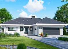 APS 312 - zdjęcie 1 House Plans Mansion, My House Plans, 4 Bedroom House Plans, One Storey House, Bungalow House Design, Bungalow Exterior, Village Houses, Home Fashion, Home Builders