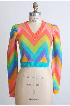 Vintage 70s Betsey Johnson Alley Cat Chevron Sweater