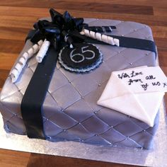 65th Birthday cake ~ Man cake ~ Fondant bow ~ Gift cake ~ by Maggie Anna Cakes and Treats