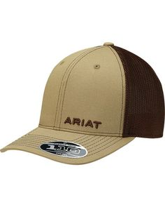 Ariat Men s Tan Offset Text Baseball Cap  861446ad9c60