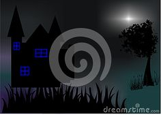 Night with silhouette building like castle, tree, and grass. And light make it amazing.