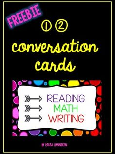 Get your students talking in a productive way! These 12 conversation cards for Reading, Math, and Writing will jumpstart your student's talking and thinking.  Included are 4 cards for each subject area:For example,READING - Where did you find your evidence?MATH - How could you prove your answer?WRITING - Did you include transition words or phrases?If you like this primary freebie, please check out my other products designed for 2nd - 4th grade and don't forget to follow me for product…