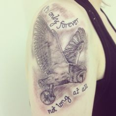 Labyrinth tattoo. Love the owl, not the quote