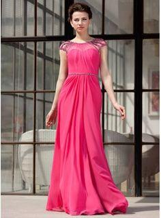 Vestidos de princesa / Formato Um decote redondo Chá comprimento chiffon De Tule Vestido de festa com Pregueado Bordado (017022865) - JJsHou...