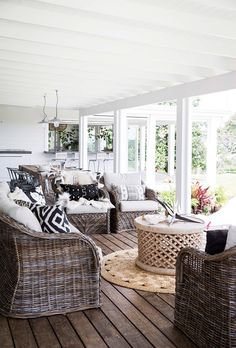 Home inspiration: Hamptons-style holiday haven - Homes, Bathroom, Kitchen & Outd. Home inspiration: Hamptons-style holiday haven - Homes, Bathroom, Kitchen & Outdoor Hamptons Style Homes, Hamptons House, The Hamptons, Outdoor Rooms, Outdoor Living, Outdoor Furniture Sets, Cane Furniture, Outdoor Balcony, Indoor Outdoor