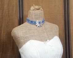 Denim Choker Necklace, Denim Necklace, Handmade from Recycled Blue Jean Denim with Antique Silver Studs and a Large Metal Flower Pendant by MissThread on Etsy