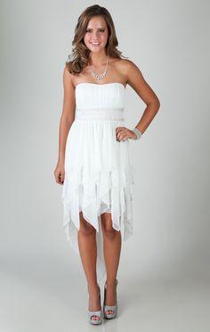 Strapless Dress with Stone Waist and High Low Hanky Hemline