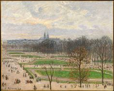 Camille Pissarro (Fr, - I giardini delle Tuileries in un pomeriggio invernale (The Garden of the Tuileries on a Winter Afternoon) - 1899 - Olio su tela x cm - Metropolitan Museum of Art, New York, NY, USA Monet, Camille Pissarro Paintings, Jardin Des Tuileries, Gustave Courbet, European Paintings, Contemporary Paintings, Post Impressionism, Impressionist Paintings, Oil Paintings