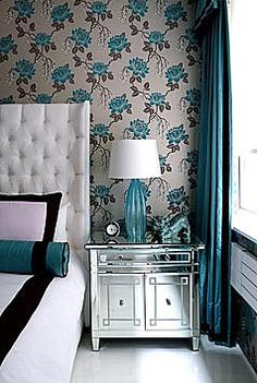 Floral turquoise rose wallpaper white blue bedroom