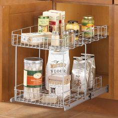 This Slide-Out Cabinet Organizer Basket is an excellent pull-out basket for organizing and increasing the space-efficiency of your kitchen cabinets while making items stored at the back of the cabinets easy to access. Featuring heavy-duty metal construction and ball-bearing driven glides that provide smooth easy slide-