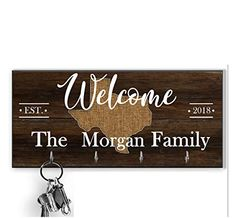 Home With City And State Color Key Holder for wall, Personalized brown family key hanger, Custom last name key hanger... Wall Key Holder, Key Rack, Family Signs, Wooden Background, Mdf Wood, Real Wood, Gifts For Family, High Gloss, Wall Mount
