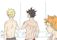 One morning in the camp Hinata finds Kuroo and Tsukishima covered in wounds.They must have trained really hard last night.