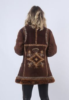 Afghan Sheepskin Shearling 60's Suede Coat Bohemian 10 (95G)   Bich   ASOS Marketplace