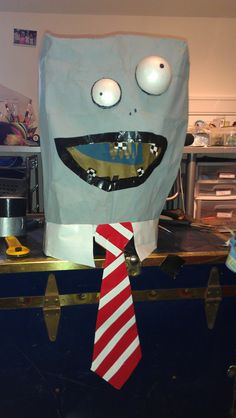 NJ's plant vs zombies head - made with grocery paper bag