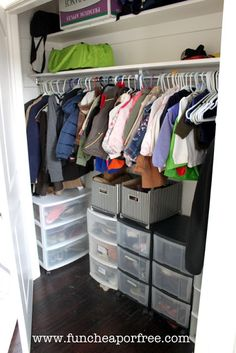 Use drawers in a coat closet to store socks, shoes (kid shoes!!), gloves, even dog leashes...+ tons of other clever organization solutions to make your life MUCH easier! #organize #funcheaporfree #clean