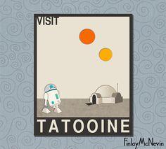VISIT TATOOINE, Star Wars Travel Poster, Retro Pop Art - Beige Version
