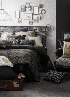 Stark, romantic, black and white bedroom.
