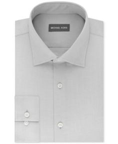 Michael Kors Men's Regular Fit Airsoft Stretch Non-Iron Performance Solid Dress Shirt - Gray 17.5 36/37