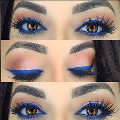 pop of blue: colorful arabic winged eyeliner on top + bottom, warm crease | summer makeup @makeupgemz