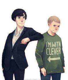 I love John's face. He looks so... disturbed that Sherlock got him that shirt an Sherlock is so proud of himself
