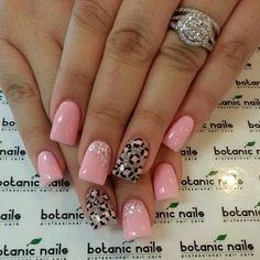 Nice pink nails with glitter and leopard print