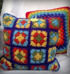 Crochet Baby Dress Pattern, Crochet Square Patterns, Crochet Squares, Crochet Blanket Patterns, Crochet Motif, Crochet Cushion Cover, Crochet Cushions, Hand Embroidery Tutorial, Crochet Wool