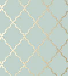 Klein Trellis - Metallic Gold on Aqua wallpaper | Seraphina Wallpaper | Anna French
