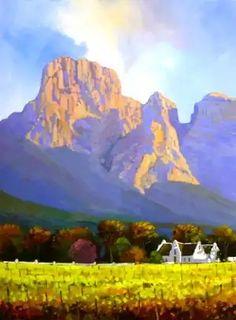 Fun Art, Cool Art, Landscape Art, Landscape Paintings, Cape Dutch, South African Artists, Cottage Art, Inspirational Photos, Cape Town
