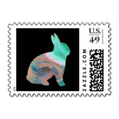 Creme de menthe Easter Bunny Custom Postage Stamps by Janz