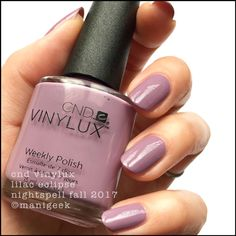 CND Vinylux Lilac Eclipse – Fall 2017Beauty in 2 phenomenally easy coats. And I tell ya what, I love her. She reminds me a lot of OPI's Parlez-Vous OPI and that's because she's sorta similar. Lilac Eclipse is lighter though, by a bunch.