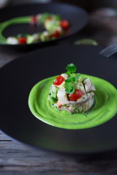 Ceviche...with avocado sauce, fresh fish, chili, lime, cilantro, avocado and cucumber...a simple healthy appetizer perfect for Cinco de Mayo | www.feastingathome.com